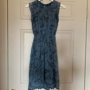 Giulia Italy Blue Floral Silk Midi Dress Sz Small